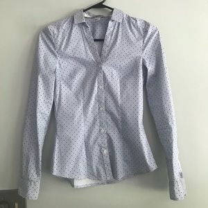H&M Fitted Button Up Long Sleeve. Polka Dot size 2